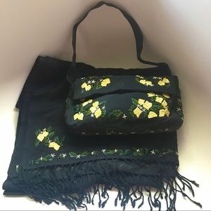 Pashmina yellow flower embroidered scarf and purse